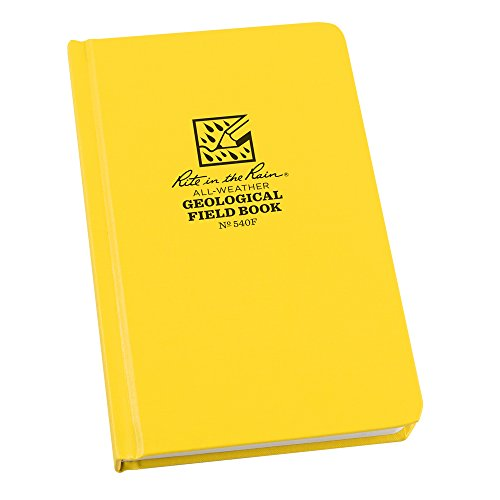 Rite in the Rain All-Weather Hard Cover Notebook, 4 3/4' x 7 1/2', Yellow Cover, Geological Pattern (No. 540F)