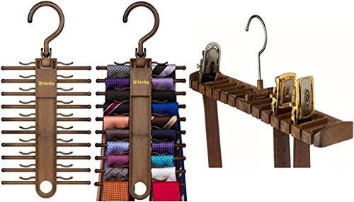 SH & SON Value Pack (2 Tie Racks + 1 Belt Hanger, Brown) : Hold up to 40 Ties & 14 Belts