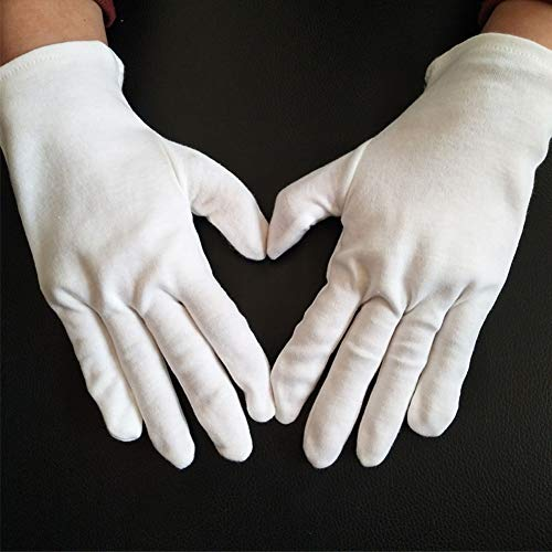 (6 Pairs (12 Gloves) Small Size Gloves Legend White Coin Moisturizing Jewelry Silver Inspection Cotton Lisle Gloves)