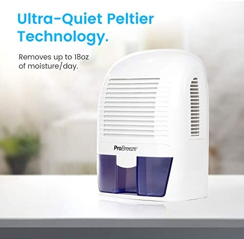 Pro Breeze Electric Mini Dehumidifier, 2200 Cubic Feet 250 sq ft , Compact and Portable for High Humidity in Home, Kitchen, Bedroom, Basement, Caravan, Office, Garage