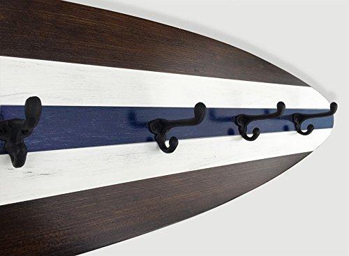 4 Ft Surfboard Coat Rack with Six Cast Iron Hooks