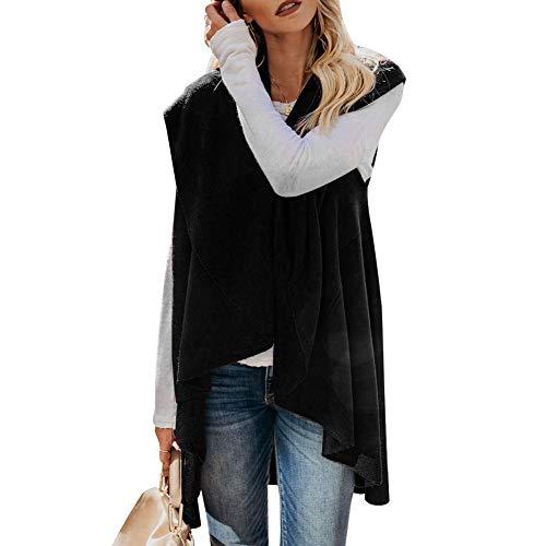 Sólidos Colores Sin De Otoño Fiesta Mujer Cómodo Abrigos Negro Vintage Cardigan Elegante Irregularmente Mangas Tejido Primavera Punto Abrigo Outerwear Moda Chaqueta wvEYvtIqx