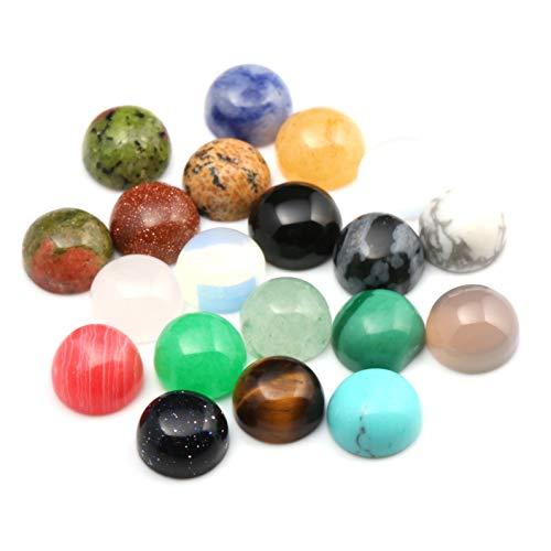 20pcs Cabochon Beads Round Random Color CAB Cabochon Beads Crystal Quartz Stone Wholesale for Jewelry Making Diameter 8 MM