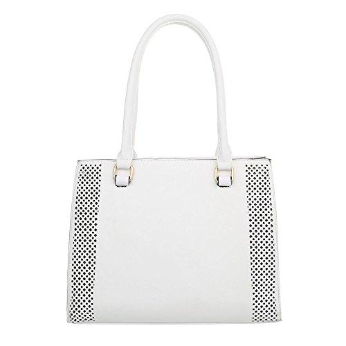 Damen Tasche Handtasche Schultertaschen Umhängetasche Shopper Tasche Henkeltasche Beuteltasche Weiß
