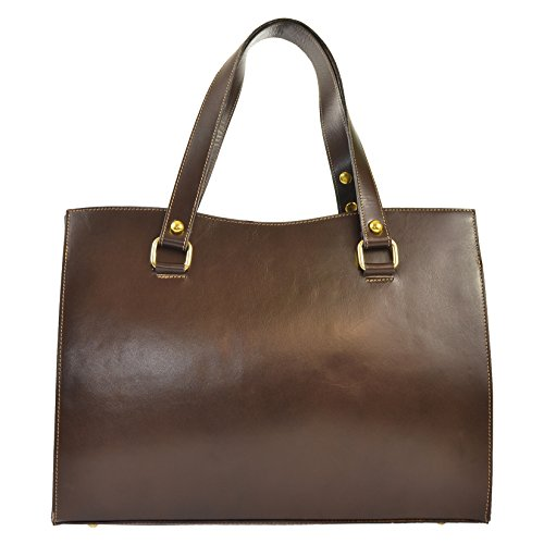 CTM Woman's classic handbag in genuine leather made in Italy D9134 - 38x27x12 Cm Dark Brown