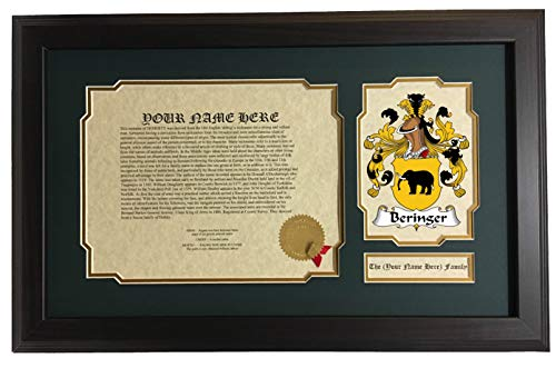 Beringer - Coat of Arms and Last Name History, 14x22 Inches Matted and Framed ()