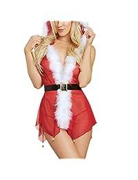 Junshion Christmas Fashion Women Sexy Lingerie Babydoll Bodysuits set