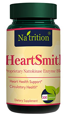 Natrition HeartSmith Heart Health Supplements – 200 Capsules CoQ10 Heart Support Vitamins - Nattokinase, N-Acetyl Cysteine Enzyme Blend – Rich in Antioxidants – Supports Heart Health, Circulation