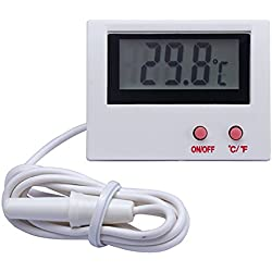 2 Pack Digital Thermometer for Fish Tank Aquarium Reptile Terrarium Switchable Celsius and Fahrenheit with Probe (White)