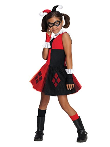 DC Super Villain Collection Harley Quinn Girl's Costume with Tutu Dress, -
