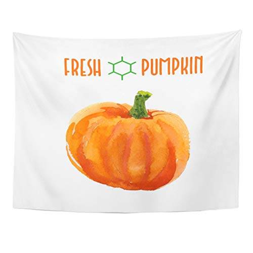 Tarolo Decor Wall Tapestry Orange Thanksgiving of Watercolor Pumpkin Fall Harvest Food Magazine Journal Recipe Book Halloween 80 x 60 Inches Wall Hanging Picnic for Bedroom Living Room Dorm -