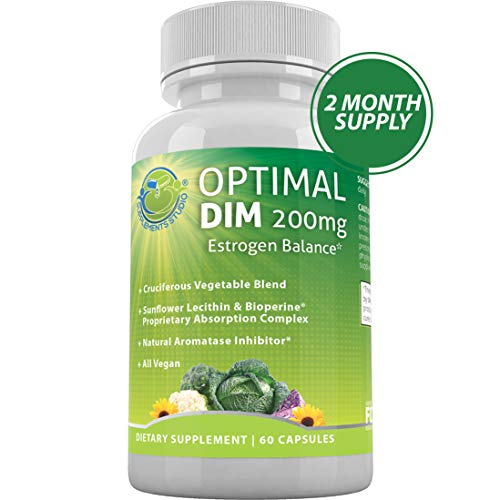 Optimal DIM Supplement 200mg Plus – Estrogen Balance – Organic Whole Foods, Sunflower Lecithin/BioPerine Proprietary Absorption Complex, Aromatase Inhibitor, All Vegan, 60 DRcaps, 2 Month Supply