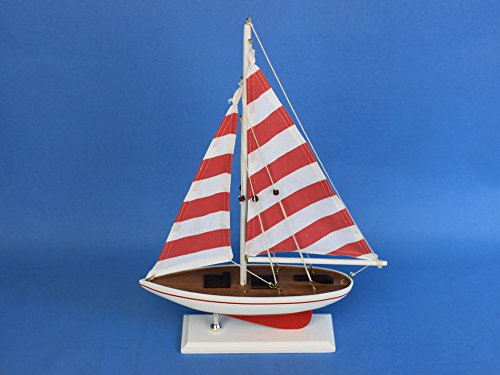 Red Striped Pacific Sailer 17'' - Wooden Model Sailboat - Table Centerpiece - Nautical