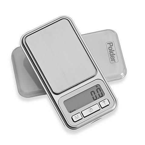 Polder Adjustable Pocket Portion Food Scale, Backlit Display with Add and Weigh Tare Functions and Auto-Off Feature, 1.1 lb/500 Gram Capacity, CR2032 Battery Included