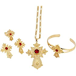 Ethiopian Cross Set Jewelry 24k Gold Plated Jewellery Africa Bridal Wedding Sets Dubai (Red)