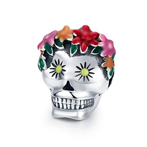 Everbling Halloween Flower Skull Colorful Enamel 925 Sterling Silver Bead Fits European Charm Bracelet