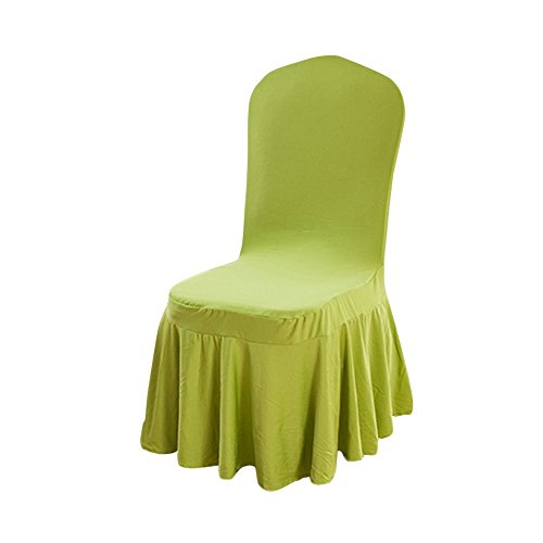 Polyester Removable Solid Color Ruffled Long Skirt Dining Chair Slipcovers 9 Color (1PCS) C046 (green) (Parsons Chair Round Chair)