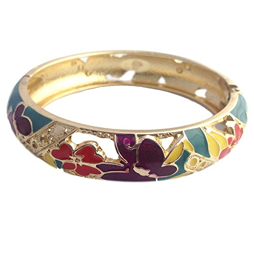 UJOY Colored Cloisonne Bangle Crystal Indian Golden Butterfly Hinged Bracelet Hollowed Enamel Jewelry Gifts 88C07 Green
