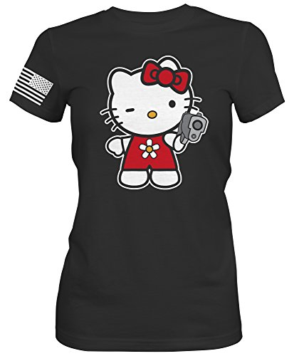 Bang Bang Apparel Women's 'Pistol Hello Kitty' Boyfriend Tee (Black, X-Large) - Hello Kitty Dog Apparel