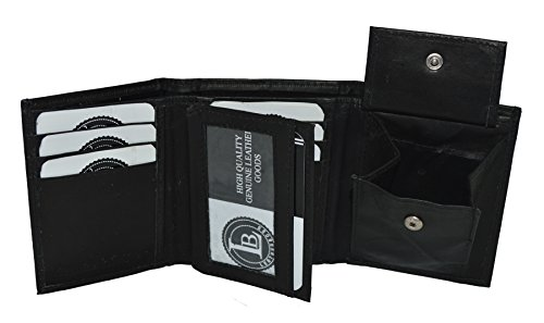 Flap Pocket Leather Wallet (Boys Slim Compact Flap Id and Coin Pocket Trifold Wallet (Black))