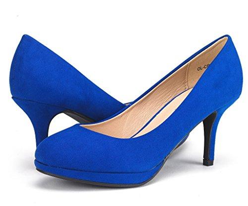 DREAM PAIRS Womens OL-CR Low Heel Stiletto Pump Shoes Royal Blue 0Hs4QJ