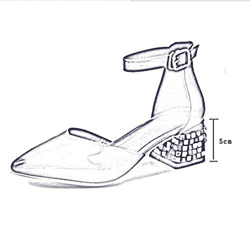 MUMA con de altos 2018 Nuevo mujer A Zapatos negro Hebilla blanco rojo Tamaño Baotou sexy cinturón Rojo Negro medio salvaje coreana verano Color versión zapatos tacones Word mujer tacón Sandalia tacón PrwP5gq