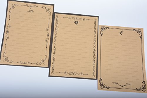 IMagicoo 64 Vintage Retro Cute Design Writing Stationery Paper Pad Letter Set (khaki-2) Photo #2