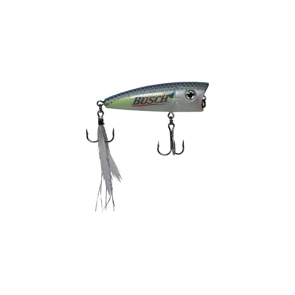 Busch Beer Fishing Lure   Popper Chart Blue Shad with Mustad Hooks