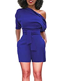 d97b687b1f7 Women s One Shoulder Short Romper Fashion Casual Jumpsuit by-NEWONESUN