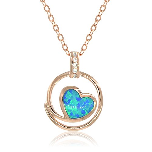 [Espere Lab Created Blue Opal Heart Pendant Necklace 18 Inch Chain 14K Rose Gold Plated] (Tiffany Blue Costume Jewelry)