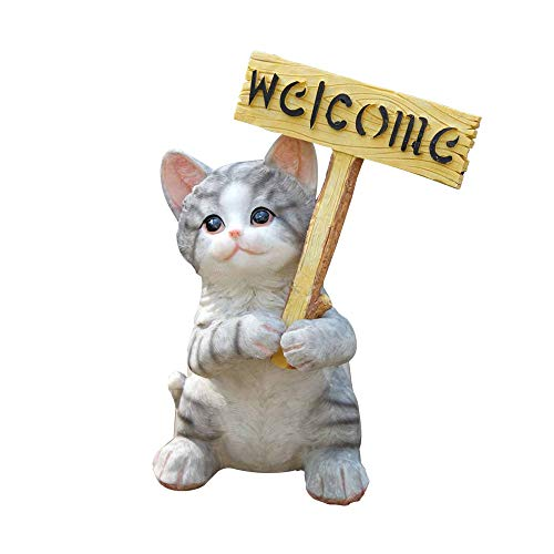 Agirlgle Garden Statue Cute Cat Decor Funny Outdoor Sculpture Ornaments Décor - Best Indoor Outdoor Statues Yard Art Figurines for Patio Lawn House - Made of Resin ()