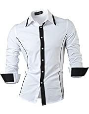 jeansian Men's Slim Fit Tattoo Printed Long Sleeves Dress Shirts Tops Z030