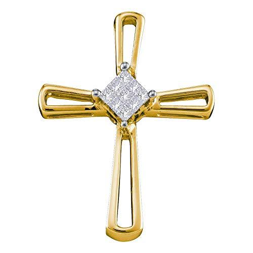 (Dazzlingrock Collection 14k Yellow Gold Princess Invisible-set Diamond Womens Cross Religious Pendant 1/10 Cttw )