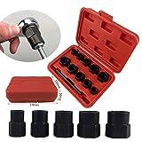 Nuts 10PCS Damaged Nut Bolt Remover Stud Extractor Set Broken Bolt Removal Kit Sockets Tools Drift Punch Storage Box Set Black