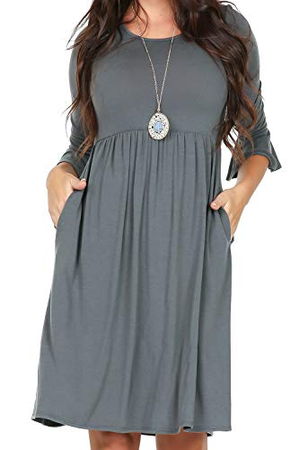iliad USA P1010 Womens 3/4 Bell Sleeve Elastic Waist Casual Dress Cement Large