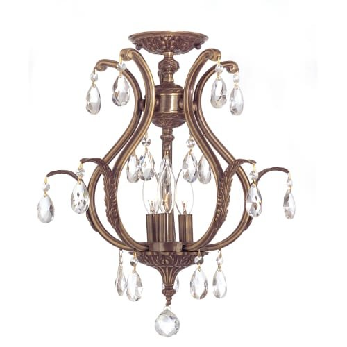 Crystorama 5560-AB-CL-SAQ_CEILING Crystal Accents Six Light Semi-Flush from Dawson collection in Brass-Antiquefinish, (Dawson Accent)