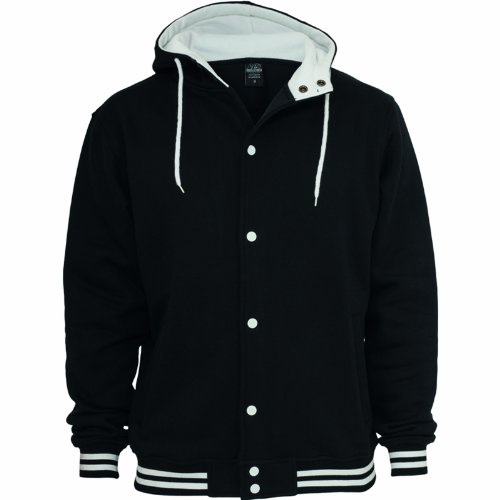 URBAN CLASSICS - HOODED COLLEGE SWEATJACKET - BLACK / WHITE