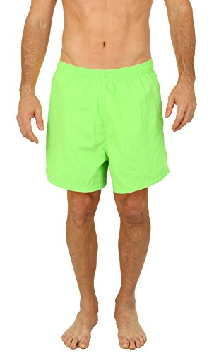 UZZI Men's Long Basic Active Shorts Activewear Trunks by Neon Green (XL)