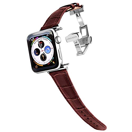 - Longvadon Women's Caiman Series Watch Band - Compatible with Apple Watch Series 1, 2, 3 & 4 - Genuine Top Grain Leather (Mahogany Brown, Silver, 38/40 - XS)