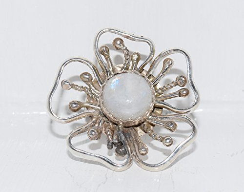 Native American Handmade Sterling Silver Flower Ring with Moonstone SIZE 6