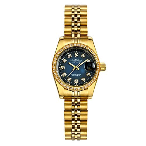 - Gosasa Diamonds Men's Gold Stainless Steel Band Automatic Mechanical Watches (A- Women- Full Gold Blue Dial)