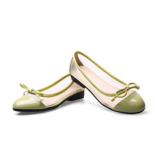 Zapatos De Tacón Bajo De Cuero Con Punta Abierta Redonda Para Mujer De Allhqfashion Bombas De Tacón Bajo Con Bowknot Y Malla Verde