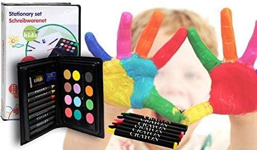 Estuche infantil 24 piezas con acuarelas - cera para pintar y dibujar: Amazon.es: Juguetes y juegos
