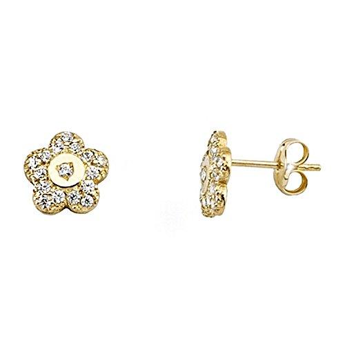 Boucled'oreille 18k zircons fleur d'or [AA6127]