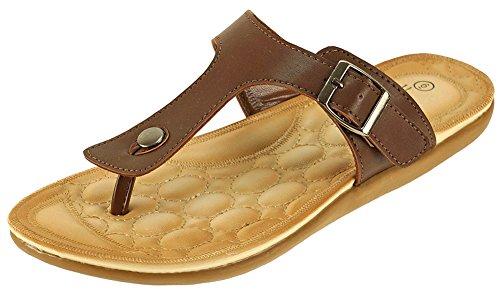 Cambridge Välj Kvinna Slip-on Spänne Rem Flat Slide Sandal Choklad