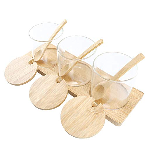 - Clear Condiment Jar, Glass Spice Container with Bamboo Lids Spoons Holder, 11oz Kitchen Seasoning Box Set of 3 for Home, Kitchen, Counter By HTB