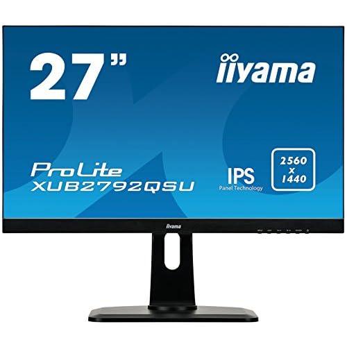 chollos oferta descuentos barato iiyama XUB2792QSU B1 Monitor IPS LED A 68 5 cm 27 pulgadas WQHD DVI HDMI DisplayPort USB3 0 Ultra Slim Line FreeSync Regulable en altura Pivotante Negro Mate