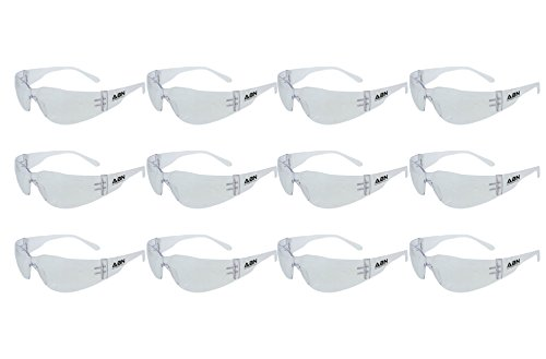 ABN Clear Safety Glasses Protective Eyewear 12-Pack in Clear - UV Protective Transparent Lens Protective Glasses
