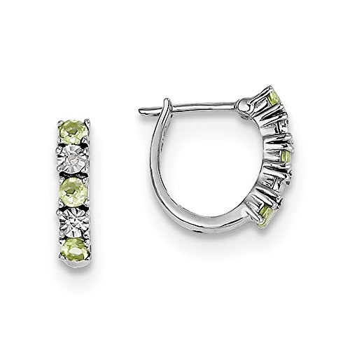 Best Designer Jewelry Sterling Silver Rhodium-plated Peridot Diamond Earrings