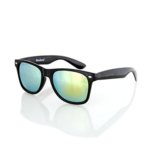 Shaderz Sunglasses Classic Glossy Black Frame Retro 80's Reflective Mirror Kelly Lime - Lime Mirror Green